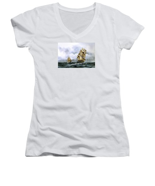 The Cutty Sark And The Red Clipper Women's V-Neck