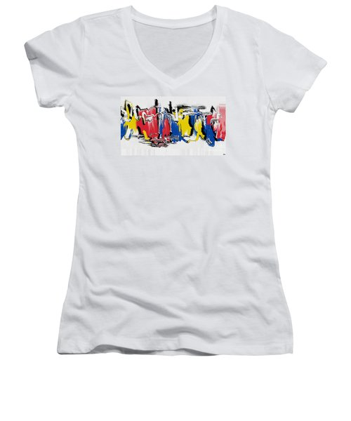 Women's V-Neck T-Shirt (Junior Cut) featuring the painting The Dance by Roz Abellera Art