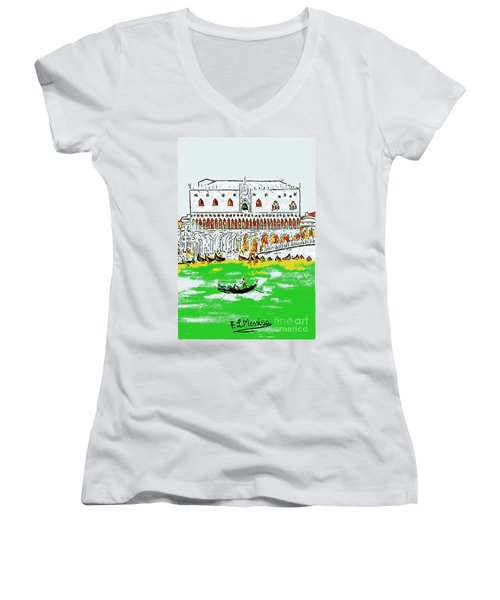 Women's V-Neck T-Shirt (Junior Cut) featuring the painting The Doge's Palace by Loredana Messina