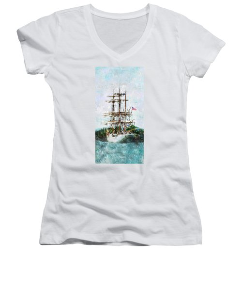 Women's V-Neck T-Shirt (Junior Cut) featuring the photograph Tall Ship Eagle Has Landed by Marianne Campolongo