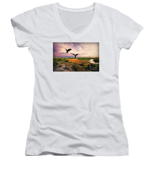 Women's V-Neck T-Shirt (Junior Cut) featuring the digital art The Eagle Will Rise Again by Lianne Schneider