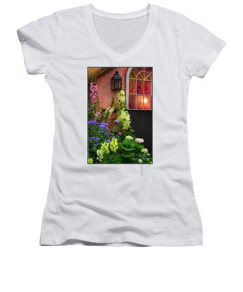 The English Cottage Window Women's V-Neck T-Shirt (Junior Cut) by Dora Sofia Caputo Photographic Art and Design