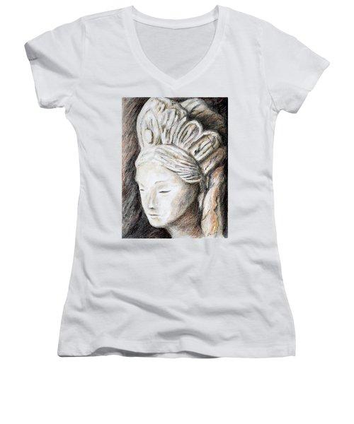 The Face Of Quan Yin Women's V-Neck T-Shirt (Junior Cut) by Danuta Bennett