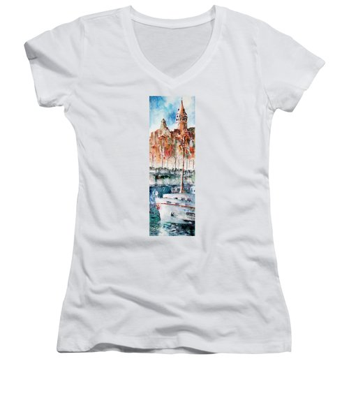 The Ferry Arrives At Galata Port - Istanbul Women's V-Neck T-Shirt (Junior Cut) by Faruk Koksal