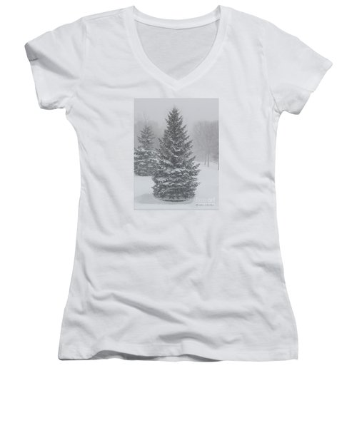 The First Snow Of Christmas Women's V-Neck (Athletic Fit)