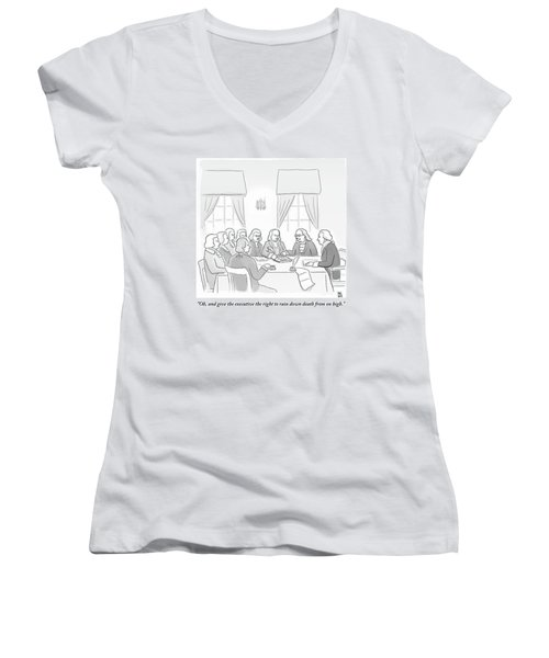 The Founding Fathers Drafting The Constitution Women's V-Neck