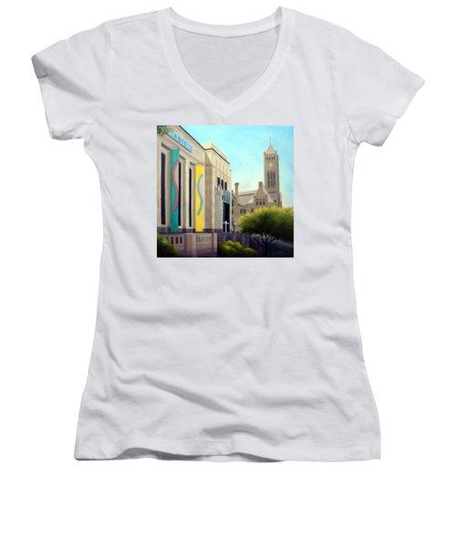 The Frist Center Women's V-Neck T-Shirt (Junior Cut) by Janet King
