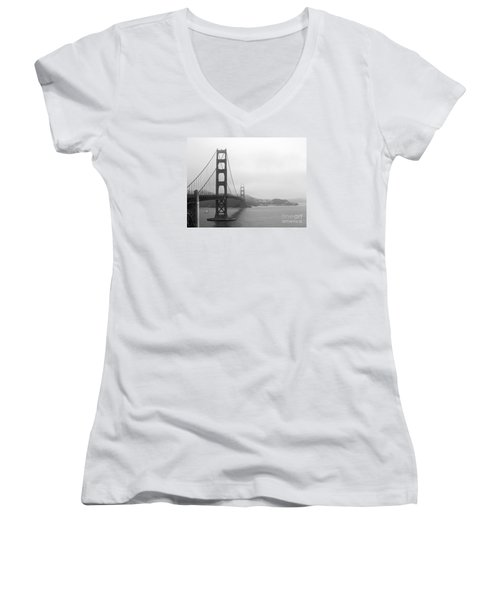The Golden Gate Bridge In Classic B W Women's V-Neck (Athletic Fit)