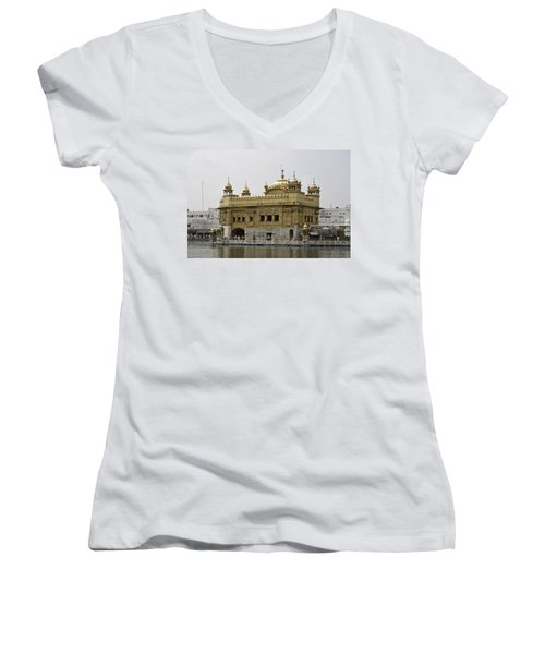 The Golden Temple In Amritsar Women's V-Neck T-Shirt (Junior Cut) by Ashish Agarwal