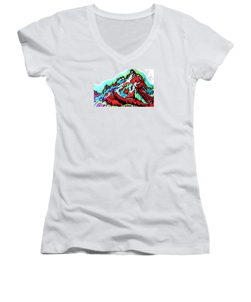 Women's V-Neck T-Shirt (Junior Cut) featuring the painting The Grand From Jackson Lake by Nicole Gaitan