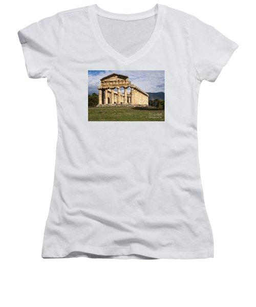 The Greek Temple Of Athena Women's V-Neck