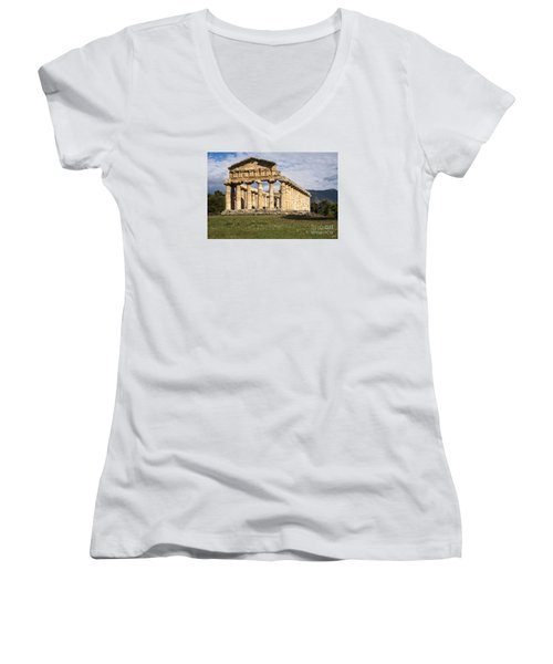 The Greek Temple Of Athena Women's V-Neck T-Shirt