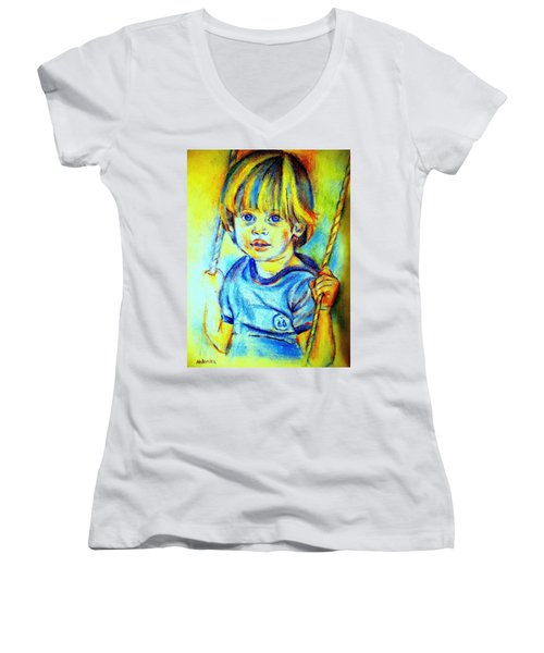 Women's V-Neck T-Shirt (Junior Cut) featuring the drawing The Hammock by Helena Wierzbicki