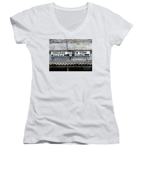 The Intersection II Women's V-Neck T-Shirt (Junior Cut) by Michael Krek
