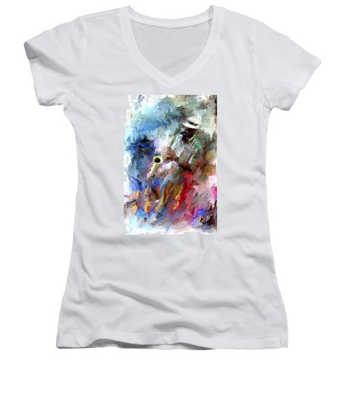 The Jazz Player Women's V-Neck T-Shirt