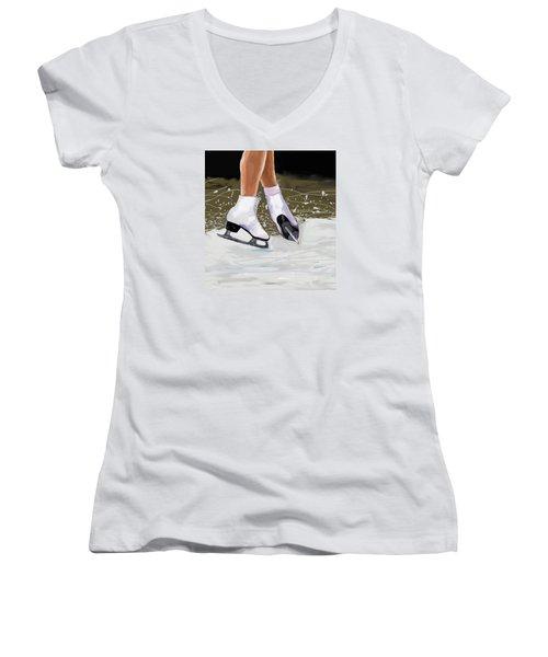 The Jump Women's V-Neck T-Shirt (Junior Cut) by Jeanne Fischer