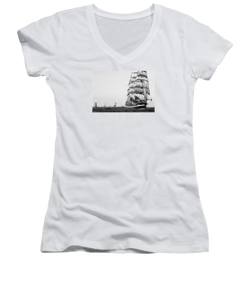 The Kruzenshtern Departing The Port Of Cadiz Women's V-Neck T-Shirt