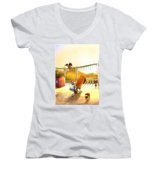 The Landing On The Balcony  Women's V-Neck T-Shirt