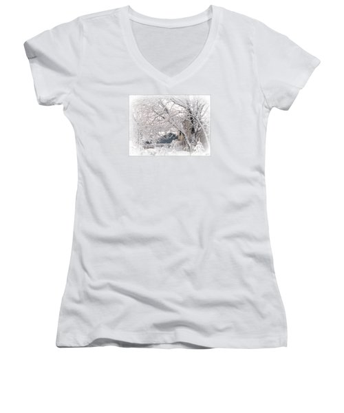 Women's V-Neck T-Shirt (Junior Cut) featuring the photograph The Last Snow Storm by Kay Novy