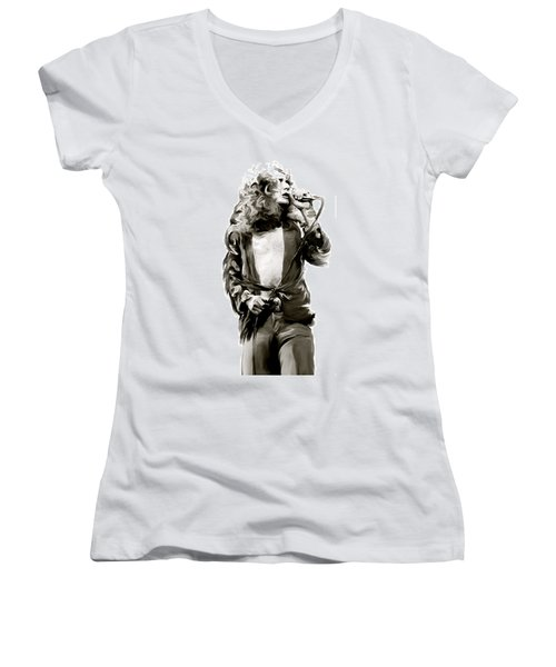 The Lion  Robert Plant Women's V-Neck T-Shirt (Junior Cut) by Iconic Images Art Gallery David Pucciarelli