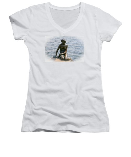 Women's V-Neck T-Shirt (Junior Cut) featuring the photograph The Little Mermaid Of Copenhagen by Victoria Harrington