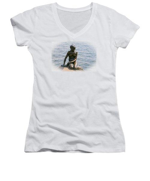 The Little Mermaid Of Copenhagen Women's V-Neck T-Shirt (Junior Cut) by Victoria Harrington