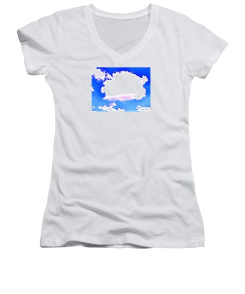 Women's V-Neck T-Shirt (Junior Cut) featuring the photograph The Little White Cloud That Cried by Sadie Reneau