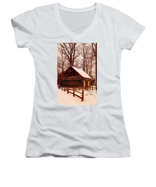 The Log Cabin At Old Mission Point Women's V-Neck T-Shirt (Junior Cut) by Daniel Thompson