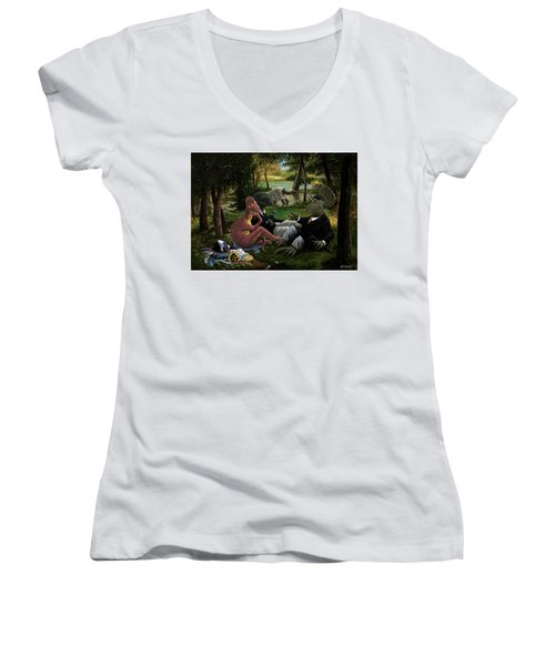 The Luncheon On The Grass With Dinosaurs Women's V-Neck