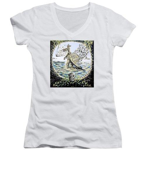 The Machine Women's V-Neck T-Shirt (Junior Cut) by Ryan Demaree