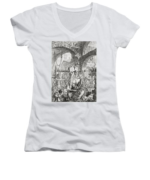 The Man On The Rack Plate II From Carceri D'invenzione Women's V-Neck T-Shirt (Junior Cut) by Giovanni Battista Piranesi