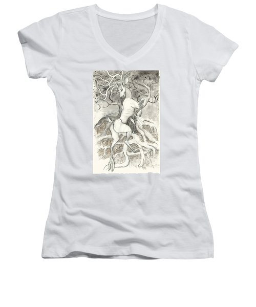 The Martyr Women's V-Neck T-Shirt (Junior Cut) by Melinda Dare Benfield