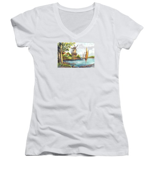 The Olde Mill Women's V-Neck T-Shirt (Junior Cut) by Carol Wisniewski