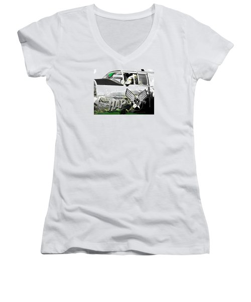 Women's V-Neck T-Shirt (Junior Cut) featuring the photograph The Miss Hap by Kathy Barney