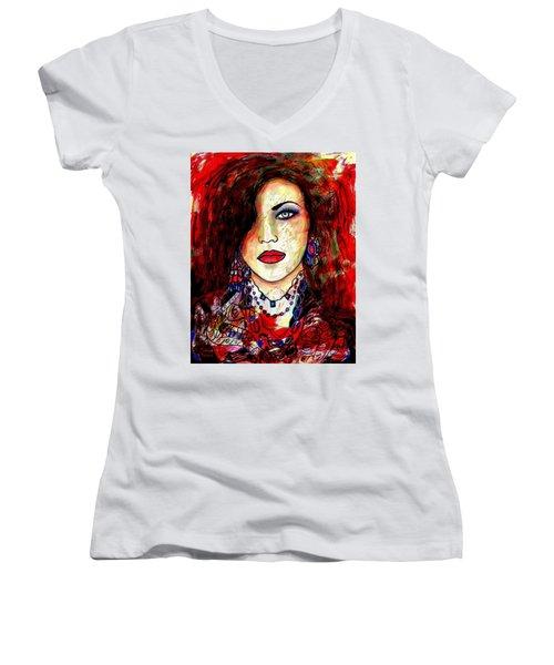 The Model Women's V-Neck T-Shirt (Junior Cut) by Natalie Holland