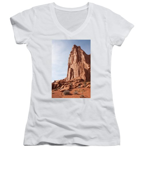 Women's V-Neck T-Shirt (Junior Cut) featuring the photograph The Monolith by John M Bailey