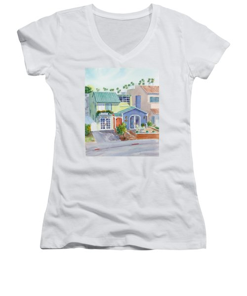 The Most Colorful Home In Belmont Shore Women's V-Neck T-Shirt