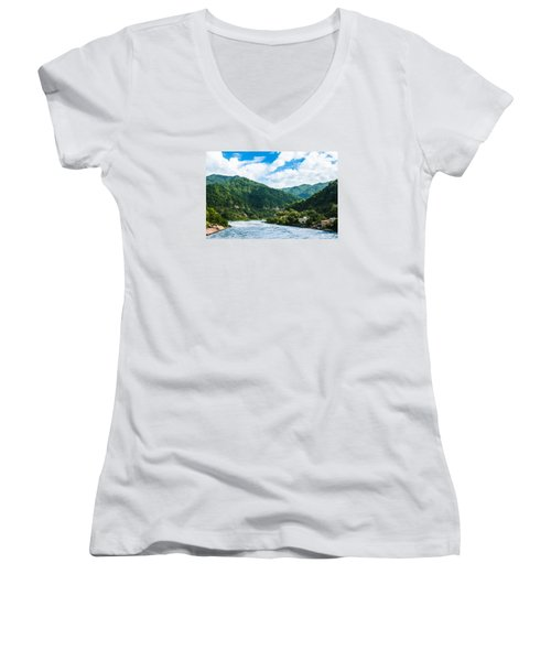 The Mountain Valley Of Rishikesh Women's V-Neck T-Shirt