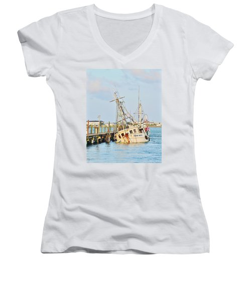 The New Hope Sunken Ship - Ocean City Maryland Women's V-Neck