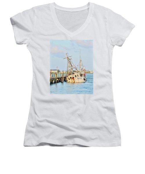 The New Hope Sunken Ship - Ocean City Maryland Women's V-Neck T-Shirt