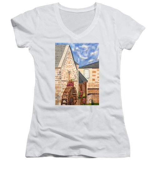 The Old French Mill Watercolor Art Prints Women's V-Neck T-Shirt (Junior Cut) by Valerie Garner