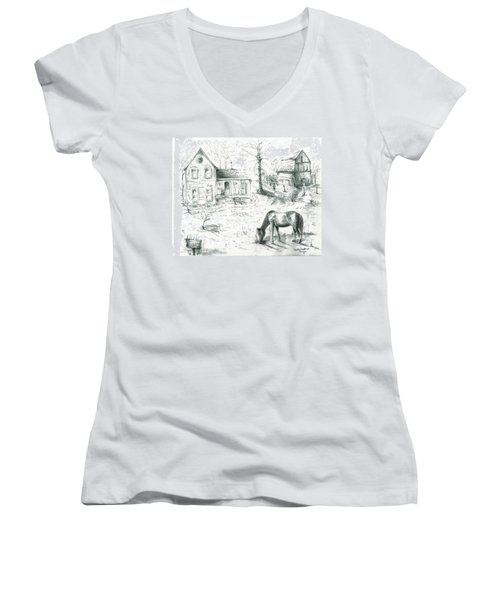 Women's V-Neck T-Shirt (Junior Cut) featuring the painting The Old Horse Farm by Bernadette Krupa