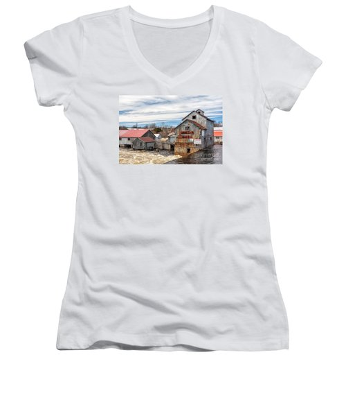 The Old Mill And The Raging River Women's V-Neck T-Shirt