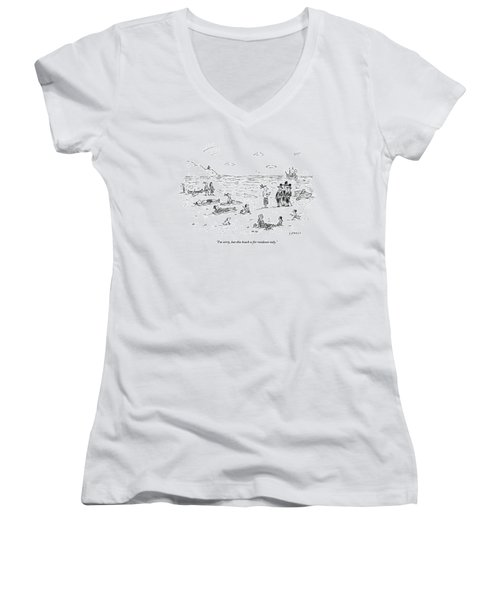 The Pilgrims Arrive At A Native American Beach Women's V-Neck