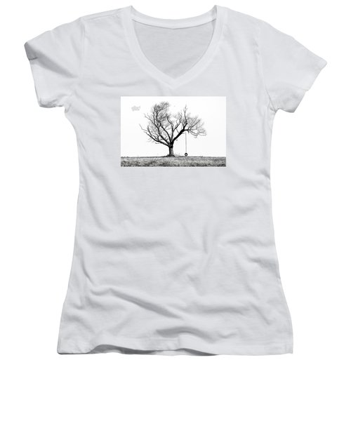 The Playmate - Old Tree And Tire Swing On An Open Field Women's V-Neck (Athletic Fit)