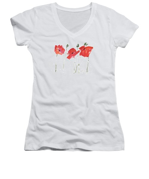 The Poppy Ladies Women's V-Neck T-Shirt (Junior Cut) by Kathleen McElwaine