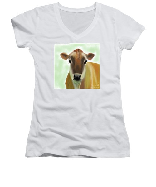 The Pretty Jersey Cow  Women's V-Neck (Athletic Fit)