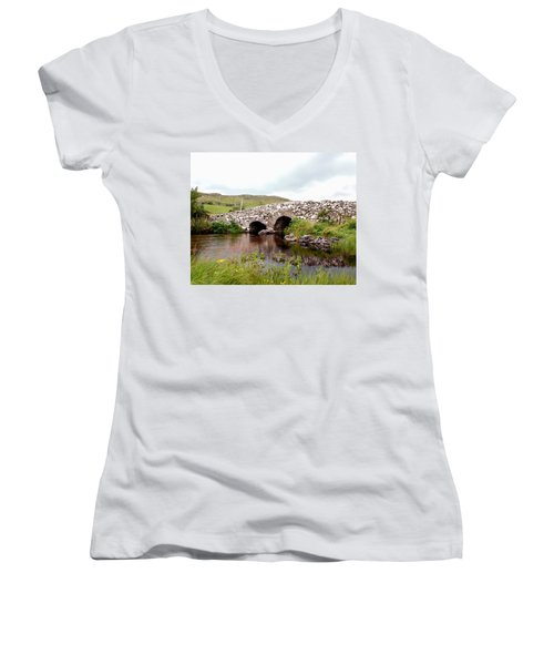 The Quiet Man Bridge Women's V-Neck T-Shirt (Junior Cut) by Charlie and Norma Brock