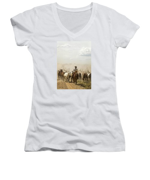 The Road Home 2013 Women's V-Neck T-Shirt (Junior Cut) by Joan Davis
