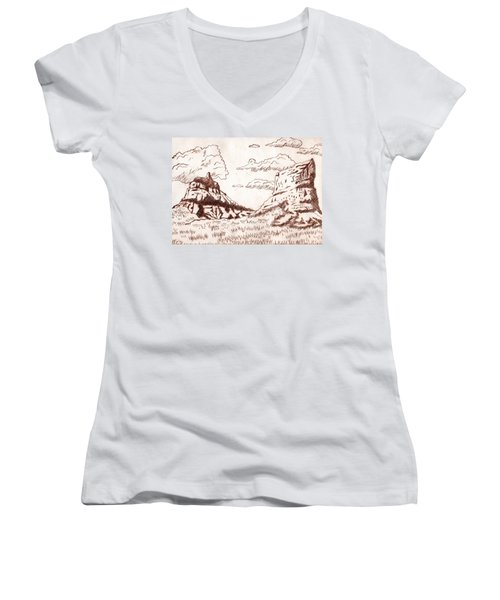 The Rocks Women's V-Neck T-Shirt (Junior Cut) by Dustin Miller